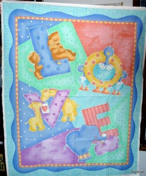 Baby Fabric Panels Quilting by Baby Quilt Wall Panel Fabric Giraffe Elephant Ebay