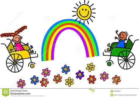 enfants handicap 233 s de fauteuil roulant illustration stock