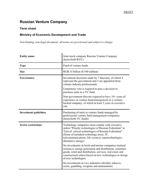 non binding term sheet template russian venture company term sheet