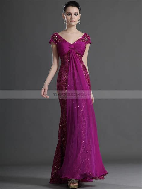 Longdress Cap cap sleeved evening dress with beaded lace overlay