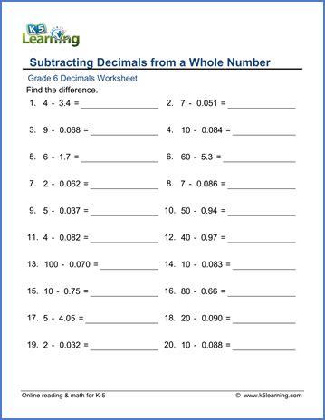 Decimal Point Worksheets