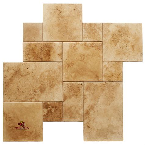installing french pattern travertine tiles walnut brushed unfilled and round edge french pattern