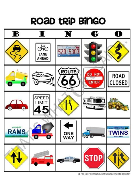 printable road sign bingo 18 best images about car ride activities on pinterest
