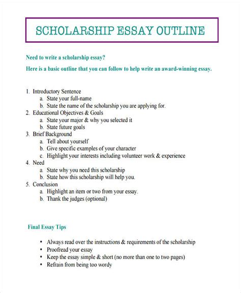 scholarship essay template 26 exles of essay outlines
