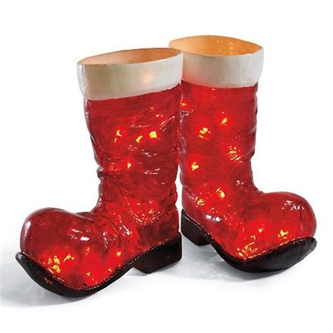grandin road illuminated santa boots christmas decor