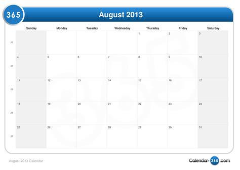 Calendrier F2vrier 2018 August 2013 Calendar