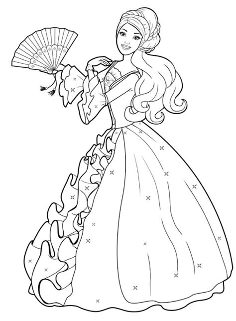 disney cartoon barbie doll princess coloring pages