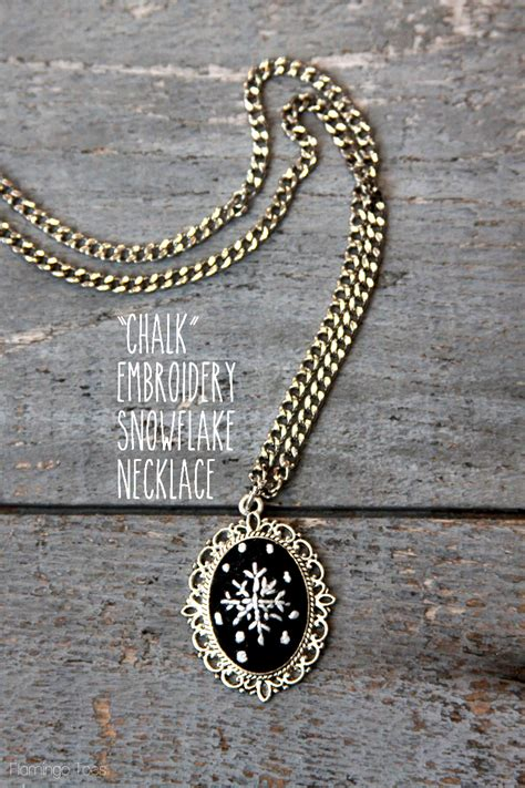 diy chalkboard necklace quot chalk quot embroidery snowflake necklace