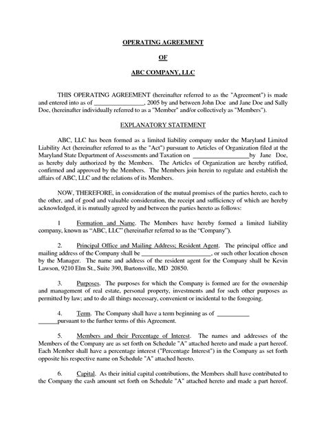 Basic Llc Operating Agreement By Jmcinerny Llc Partnership Agreement Sle Real State Simple Operating Agreement Template