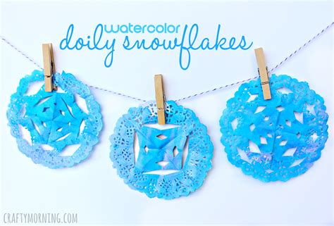 snowflakes crafts for watercolor doily snowflakes craft crafty morning