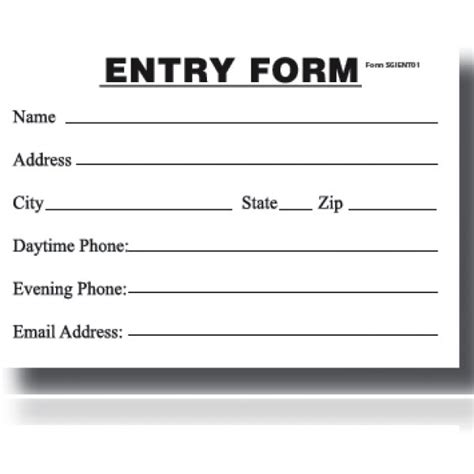 Sweepstakes Entry Form Template entry blank entry form pad my store