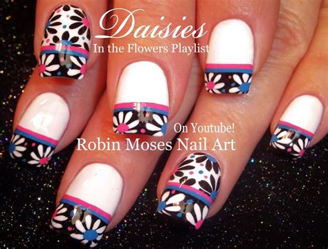 daisy pattern nails black and white daisy nails flower nail art design