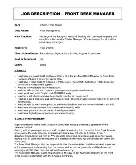 front desk manager job description sle front desk job description 10 exles in pdf word