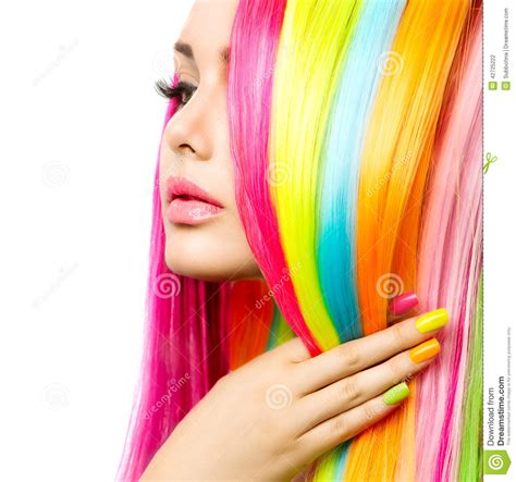 with colorful hair portrait with colorful hair and nail stock