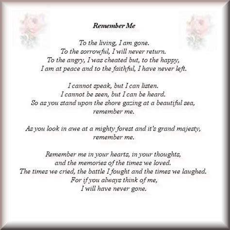 remember me poem memory quotes