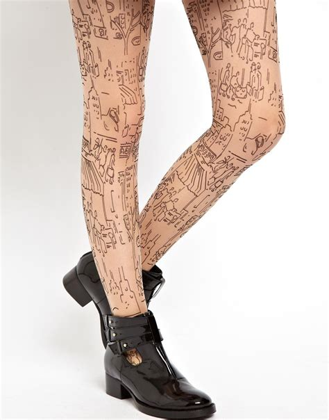 stocking tattoo lyst asos cityscape tights in