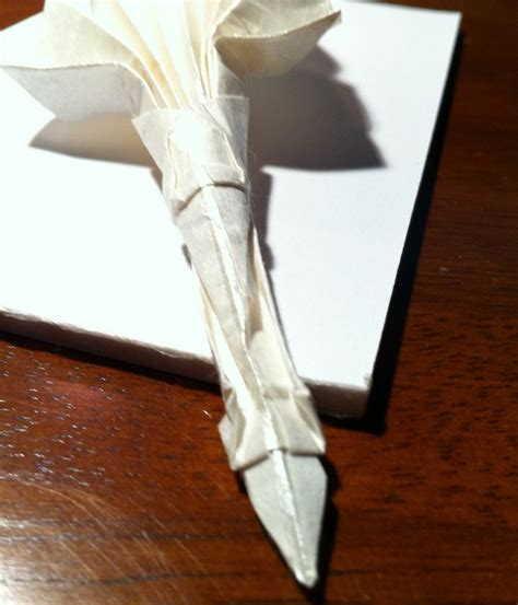 origami quill pen 174 a quill setting the crease