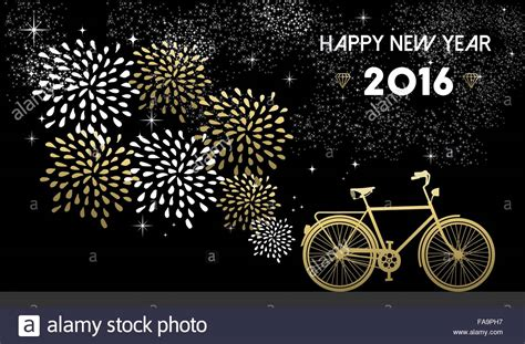 new year greeting card design 2016 happy new year 2016 gold greeting card design with bike