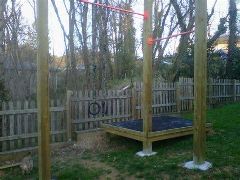 pull up bar backyard homemade gym wood workout equipment pinterest gym