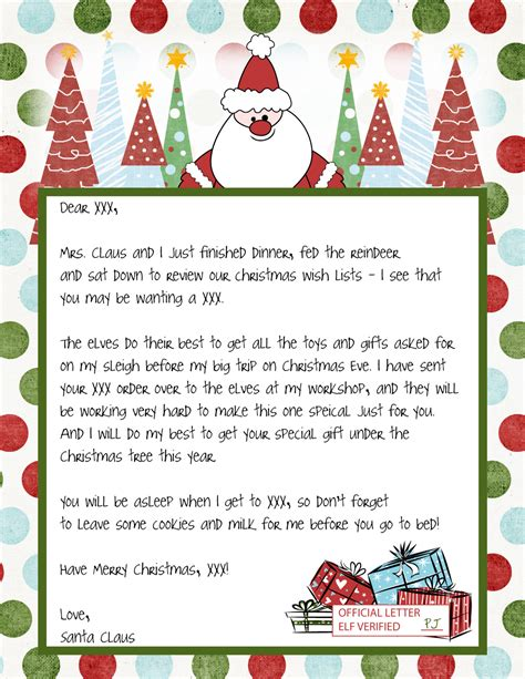 Letters From Santa Templates Free Free Printable Letters From Santa Template