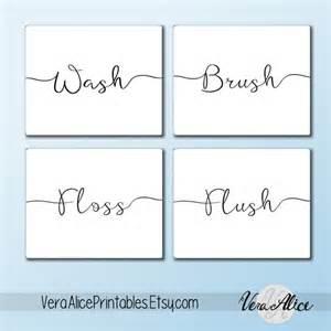 Wall art printable set bathroom sayings wash brush floss