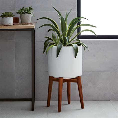 planter with stand mid century turned leg planter solid west elm uk