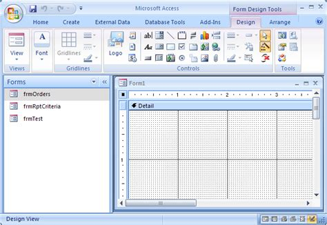form design view access 2007 ms access 2007 create a form