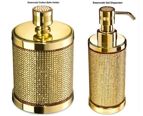 Gold Plated Bathroom Accessories Gold Plated Bath Accessories Glamorized With Swarovski Crystals For The