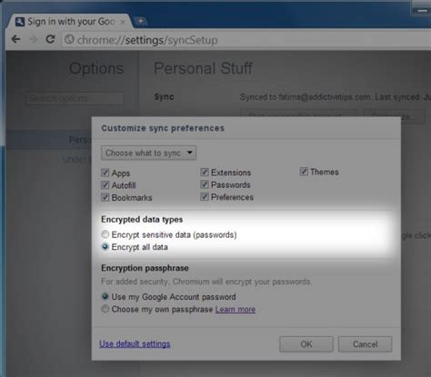 chrome theme not syncing chrome gets option to encrypt all synced data for better