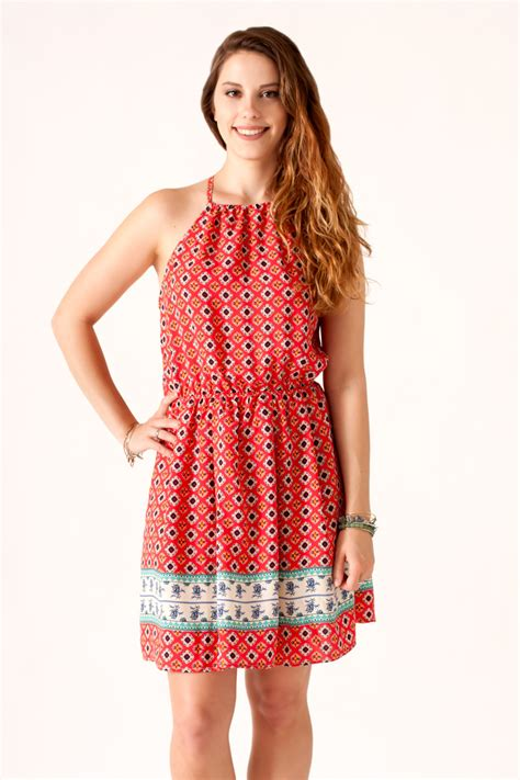 Print Halter Dress nikibiki border print halter dress