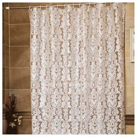 Modern white floral print peva organic shower curtain