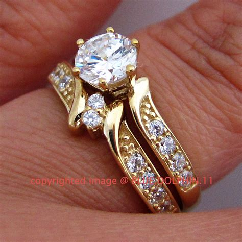 real genuine solid 9k yellow gold engagement wedding rings