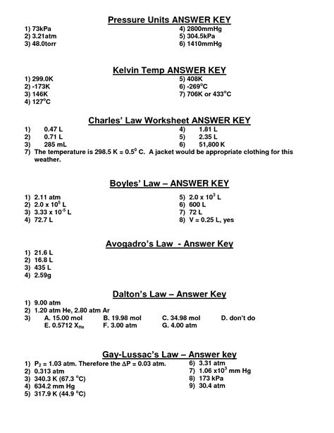 Boyles And Charles Worksheet by 14 Best Images Of Boyle S Worksheet Answers Ideal