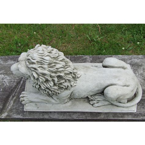 lion statue on plinth cast stone garden ornament patio lion statue on plinth cast stone garden ornament patio