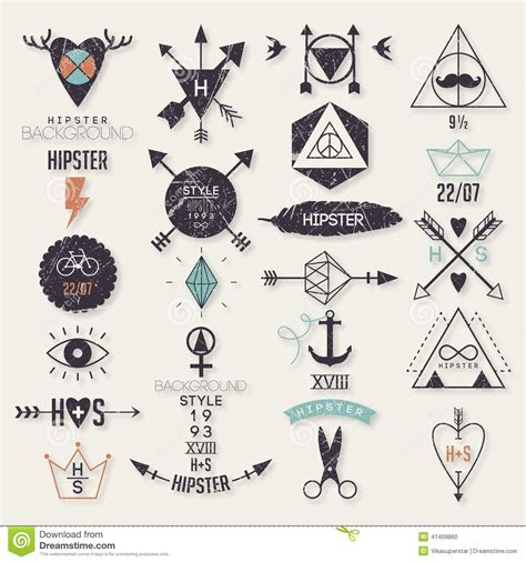 hipster style elements icons and labels stock vector hipster style elements stock vector image 41409860