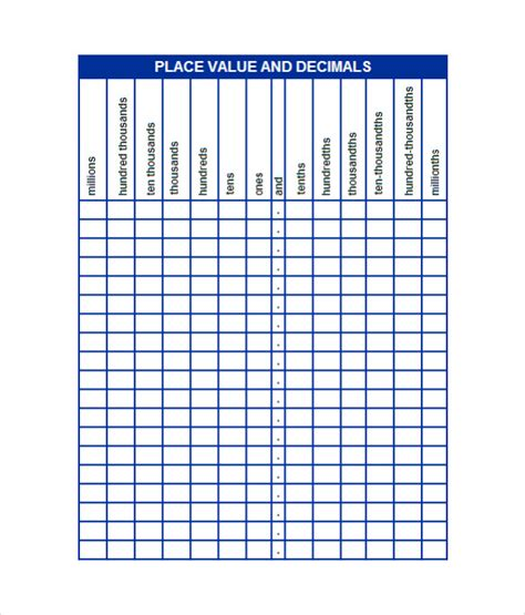 place value chart template sle decimal place value chart 12 documents in word pdf