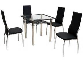 metal glass square dining table and chair set with 2 4