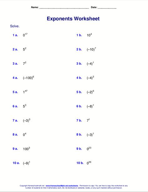 printable math worksheets on exponents 7th grade math exponents worksheets printable 7th best