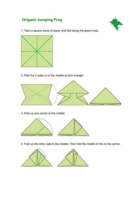 How To Make A Jumping Frog With Paper - 5 best images of origami jumping frog diagram paper