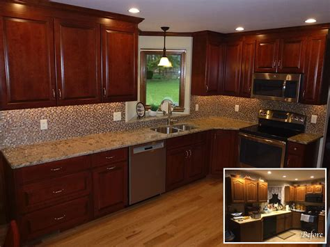 red kitchens with oak cabinets red quartz countertops nanobuffet com