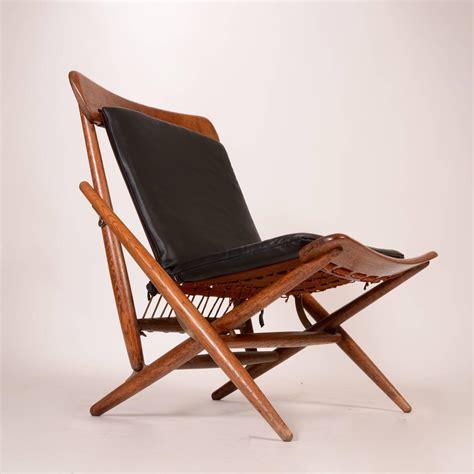 danish teak  leather folding side chair  sale  stdibs