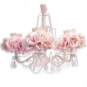 5 Arm Light Pink Chandelier Luxury Nusery Lighing Floral Pink Chandelier L
