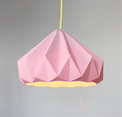 Folded Paper Light Shade - paper origami lshade chestnut pink