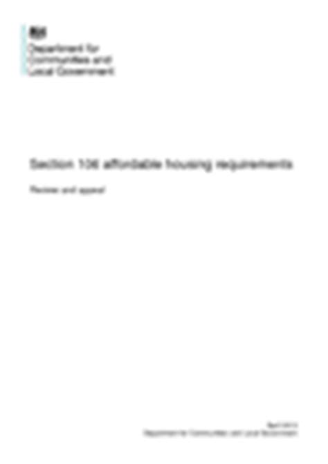 section 106 affordable housing requirements review and