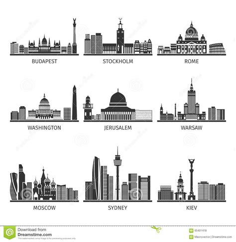 Landscape Types Historical Structures World Cityscapes Black Icons Set Stock Vector
