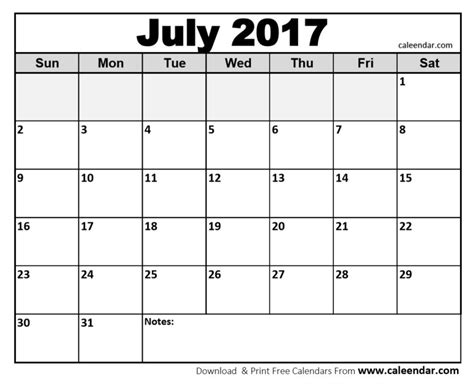 Calendar Template 2017 Word Doc 2017 Formatted Printable July Calendars Print Blank