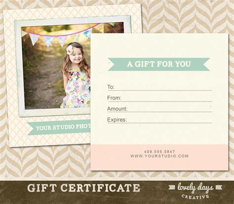 Photography Gift Certificate Template photography gift certificate template for by