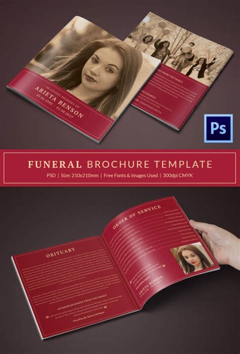Free Funeral Brochure Templates by Funeral Program Template 23 Free Word Pdf Psd Format