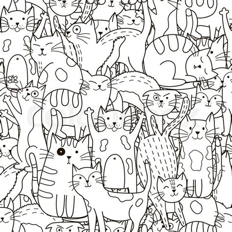 doodle pattern black and white doodle cats seamless pattern black and white cute cats