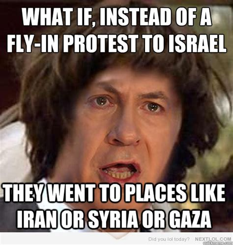 Israel Meme - what if instead of a fly in protest to israel they went